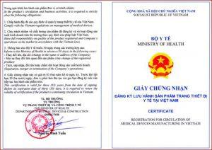 Cấp giấy chứng nhận đăng ký lưu hành sản phẩm trang thiết bị y tế